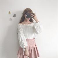 秋季新品韩版甜美一字领木耳边衬衫女装宽松长袖娃娃领露肩上衣潮 均码 (160/84A)