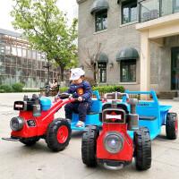 新款儿童电动车可坐人带货斗音乐玩具车儿童自驾手扶拖拉机充电灯光手扶电瓶车 手扶式双电双驱12V电瓶