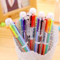 4支日韩国创意可爱卡通多色圆珠笔 按动笔彩色个性油笔文具6色笔