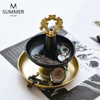 创意双层首饰展示架金属托盘梳妆台戒指首饰手表收纳桌面装饰摆件