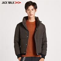 【满300减30】拉夏贝尔男装Jackwalk立领短款羽绒服冬季新品休闲羽绒外套男