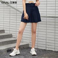 艾莱依2019夏季时尚OL雪纺西装短裤女气质高腰阔腿裤女601834002