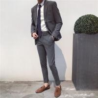 男士修身韩国英伦风西服伴郎正装韩版帅气小西装套装两件套