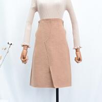 FSA092018秋冬季韩版新款高腰纯色后拉链包臀呢子半身裙