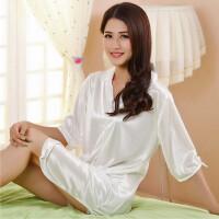 201新款性感睡衣女短袖冰丝绸衬衫式睡裙开衫纯色中款系扣宽松 家居服 白色 白色#不透款