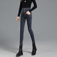 Lee Cooper街拍必备新款弹力直筒修身显瘦小脚长裤牛仔裤女