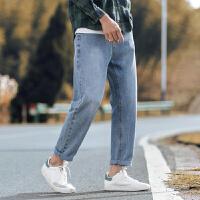 牛仔裤男潮牌2020春秋款韩版宽松休闲百搭九分男裤阔腿直筒长裤