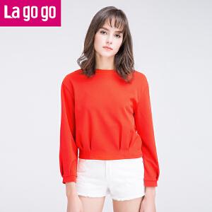 Lagogo圆领上衣2017年春季新款时尚百搭纯色显瘦卫衣韩版打底衫
