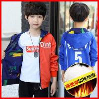 安妮纯童装男童外套两面穿2018秋装新款男孩上衣帅气儿童夹克10岁韩版潮