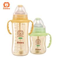 宽口径宝宝奶瓶耐摔带吸管手柄 婴儿奶瓶