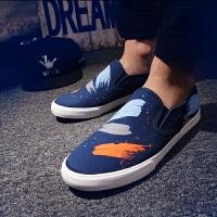 休闲鞋男鞋春季新款运动鞋子男士韩版涂鸦潮流套脚运动休闲鞋青少年学生帆布鞋