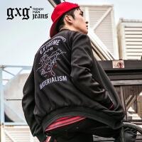 gxg.jeans男装秋季黑色修身棒球服青年微弹休闲夹克外套63921019