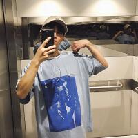 BANGBOY 韩版蓝色人物印花短袖oversize男宽松欧美风2018夏季T恤