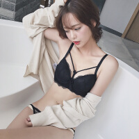 黑色小胸加厚款文胸套装 性感镂空系带聚拢调整胸罩 橘色