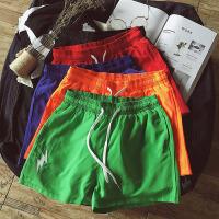 有大码~宽松青年港风刺绣松紧腰带韩版短裤速干沙滩男裤子运动裤