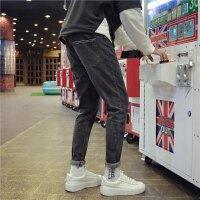 牛仔裤男士韩版修身春季2018新款黑色港风小脚裤青少年休闲长裤子