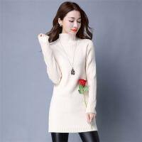 茉蒂菲莉 针织衫 女士长袖高领中长款秋冬新款韩版上衣休闲潮流女式宽松套头外穿毛衣学生时尚女装打底衫