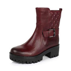Teenmix/天美意专柜同款打蜡牛皮女靴6E561DZ5