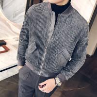 新款秋冬装宽松青年韩版衣服帅气复古粗条纹灯芯绒夹克潮男士时尚