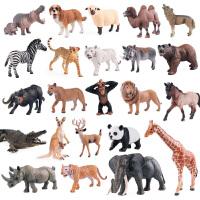 野生动物园大象老虎狮子长颈鹿实心仿真动物模型套装玩具
