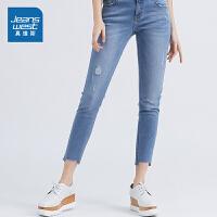 [到手价:159.2元,年货节限时抢购,仅限1.15-19]真维斯女装 2019夏装新款 弹力混纺雨纹牛仔裤