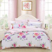 百丽丝家纺 水星出品 斜纹印花全棉四件套 米兰花语1.5米床