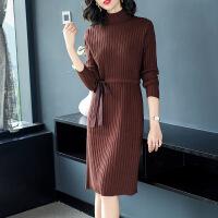 秋冬季针织打底连衣裙女韩版中长款2018新款修身套头高领毛衣裙子