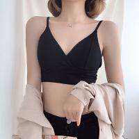 2018春夏季新款韩版镂空蕾丝交叉裹胸背心V领纯色少女小吊带内衣