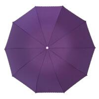 2018新款雨伞太阳伞遮阳伞折叠晴雨伞伞超大折叠晴雨伞纯色商务雨伞广告伞 紫色 65*10k