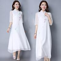 假两件连衣裙2018春夏装新款民族风女装长款五分袖立领中国风裙子