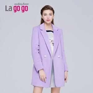 Lagogo/拉谷谷新款纯色中长款双排扣毛呢大衣