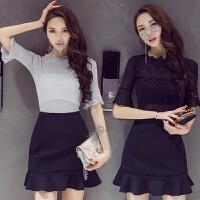 套装女夏装时尚气质两件套上衣鱼尾裙半身裙连衣裙韩版新款潮