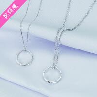 925纯银情侣戒指项链锁骨链一对 男女日韩简约学生文艺饰品送女友