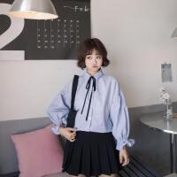 2017秋季新款韩版可爱学院风条纹领口系带泡泡袖衬衫女长袖上衣潮 均码 (160/84A)