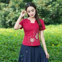民族风女装短袖t恤夏装新款素麻文艺弧形领绣花棉麻上衣夏女