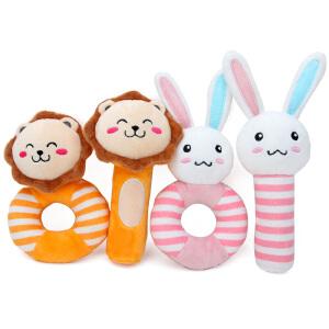 动物布艺摇铃套装新生婴儿手摇铃BIBI棒毛绒早教益智玩具0-1岁