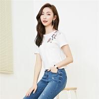 白色t恤女短袖韩范2018夏装新款花朵刺绣上衣潮百搭chic洋气小衫30082400