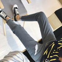 新款小码文艺男牛仔裤26 27码长裤修身韩版刺绣羽毛小清新小脚
