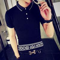 夏季男生短袖T恤翻领POLO衫韩版印花社会人精神小伙紧身半袖小衫