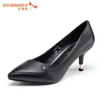 红蜻蜓新款 小清新高跟鞋细跟尖头婚鞋浅口单鞋女