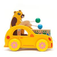 小熊宝宝敲鼓儿童早教启蒙学步拖/拉车类木制玩具0-1-2-3岁
