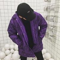 韩国INS同款炫酷电光紫满字母印花夹棉外套棉衣