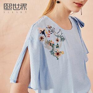 熙世界短袖荷叶袖短袖蝴蝶结刺绣衬衫女2018年夏装新款112SC003