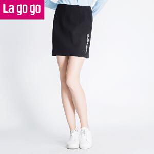 Lagogo秋冬款黑色包臀裙子半身裙短裙女冬装新款冬裙修身显瘦包裙
