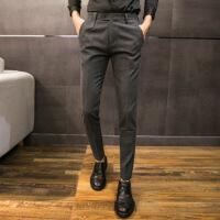 发型师裤子男冬季小脚西裤男加绒加厚休闲裤男士修身韩版潮流秋季 色