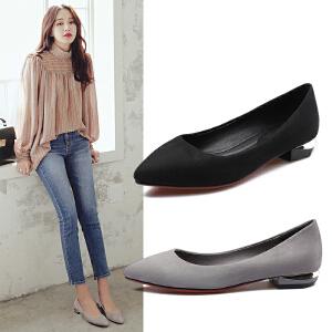 阿么2017春季新款尖头女鞋子黑色低跟浅口韩版学院风方跟休闲单鞋