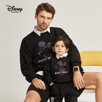 迪士尼亲子装父子装黑色时尚米奇套头卫衣2021春新款洋气卫衣潮