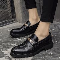 DAZED CONFUSED 夏季英伦男鞋鳄鱼纹尖头皮鞋商务休闲鞋厚底增高发型师鞋子