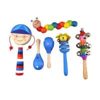 婴儿木质拨浪鼓手摇铃套装毛毛虫宝宝早教3-6-12个月木制玩具 男宝木质6件套(动物摇铃款)