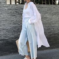 白色防晒衣女中长款2018新款长袖宽松韩版防紫外线棉麻心机薄衬衫 白色